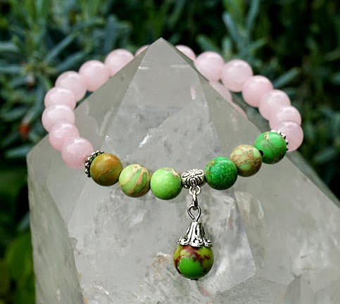Rose Quartz and Green Impression Jasper