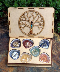 Tree of Life Chakra Box with faceted heart stones