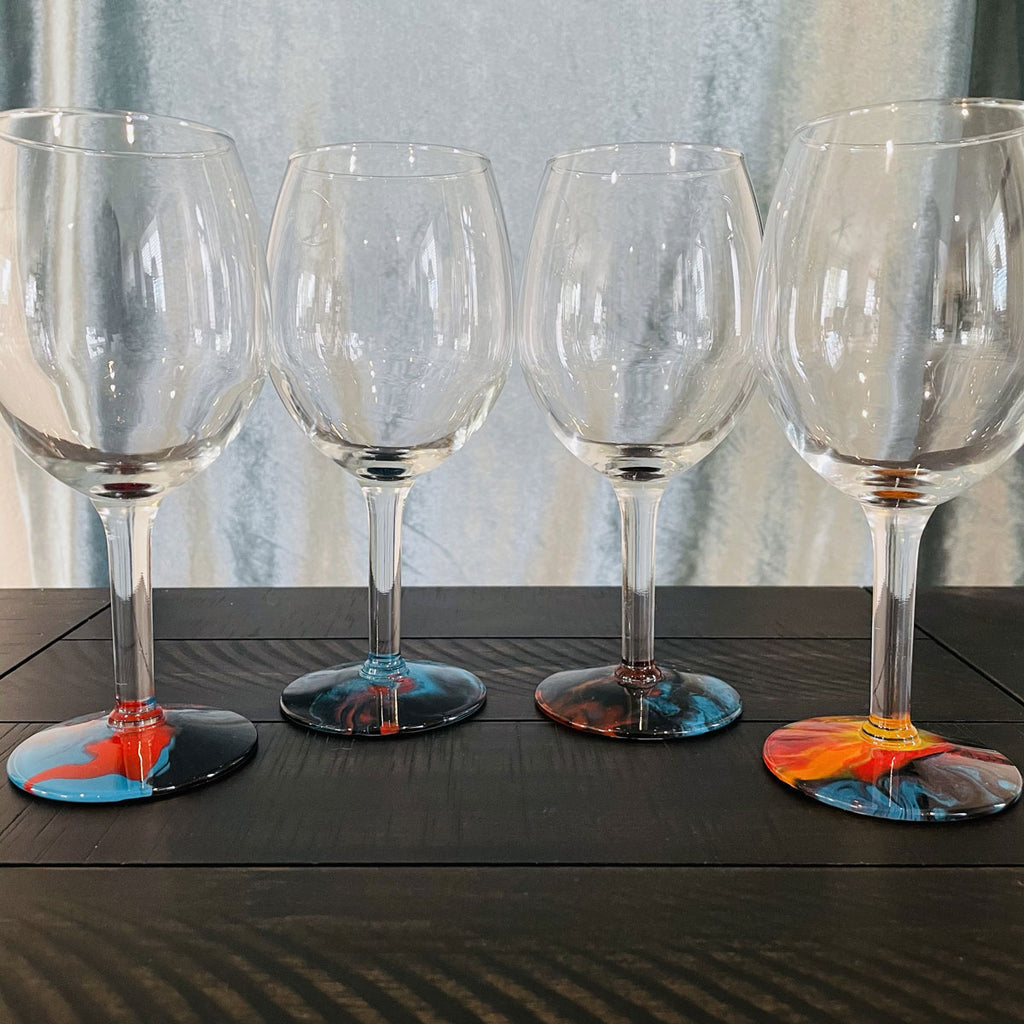 Hand-painted Wine Glasses - Rock 'n Roll - Ashley Lisl Art