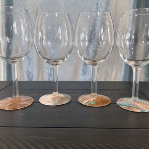 Hand-painted Wine Glasses - Beach Sunset - Ashley Lisl Art