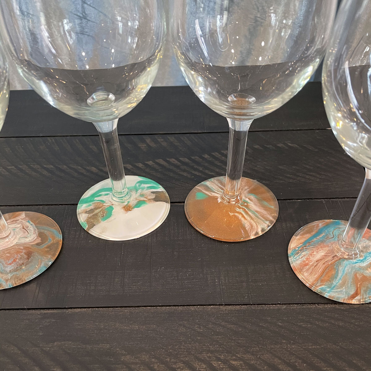 Hand-painted Wine Glasses - Seafoam - Ashley Lisl Art