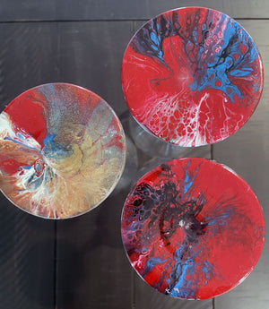 Hand-painted Wine Glasses - Red Sisters - Ashley Lisl Art