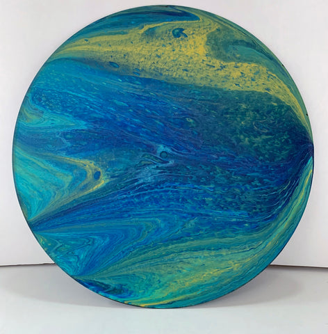 Algea - Upcycled Vinyl Record Pour Painting Clock - Ashley Lisl Art