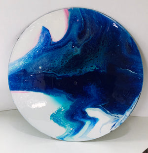 Blue Wolf - Upcycled Vinyl Record Pour Painting Clock - Ashley Lisl Art