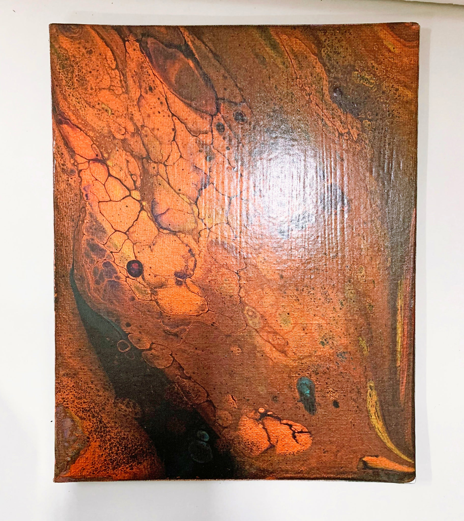 "Canvas Board Painting ""Copper Splat"" - Ashley Lisl Art"