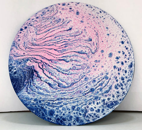 Cosmic Twister - Upcycled Vinyl Record Pour Painting Clock - Ashley Lisl Art