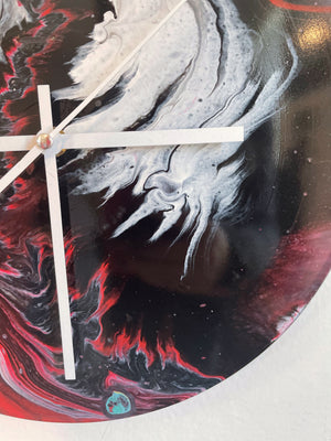 Devilnado - Upcycled Vinyl Record Pour Painting Clock - Ashley Lisl Art