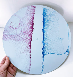 Dueling Waves - Upcycled Vinyl Record Pour Painting Clock - Ashley Lisl Art