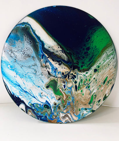 Earth - Upcycled Vinyl Record Pour Painting Clock - Ashley Lisl Art