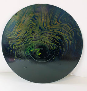Earthnado - Upcycled Vinyl Record Pour Painting Clock - Ashley Lisl Art