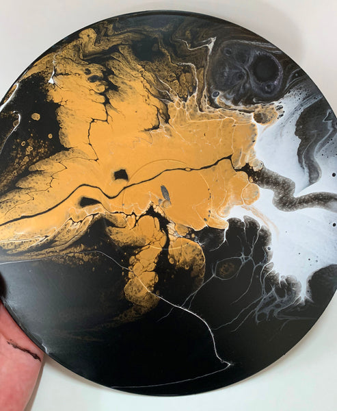 Gold Leaf - Upcycled Vinyl Record Pour Painting Clock - Ashley Lisl Art