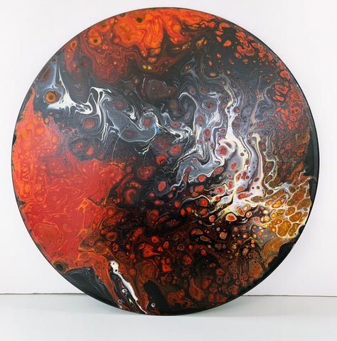 Inferno - Upcycled Vinyl Record Pour Painting Clock - Ashley Lisl Art