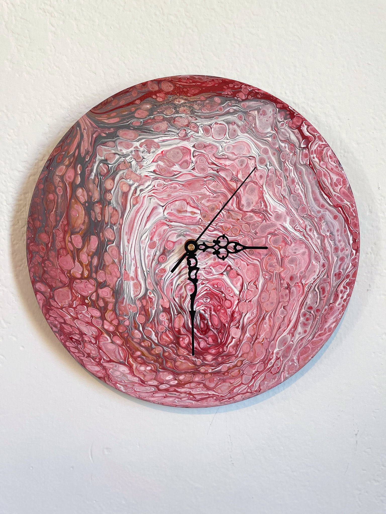 Just Breathe - Upcycled Vinyl Record Pour Painting Clock