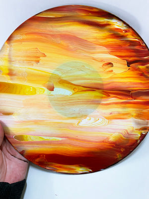 Mars - Upcycled Vinyl Record Pour Painting Clock - Ashley Lisl Art