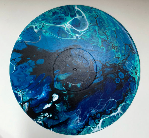 Ocean - Upcycled Vinyl Record Pour Painting Clock - Ashley Lisl Art
