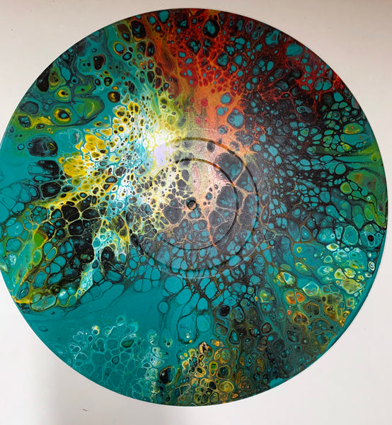 "Vinyl Art Painting ""Peacock"" - Ashley Lisl Art"