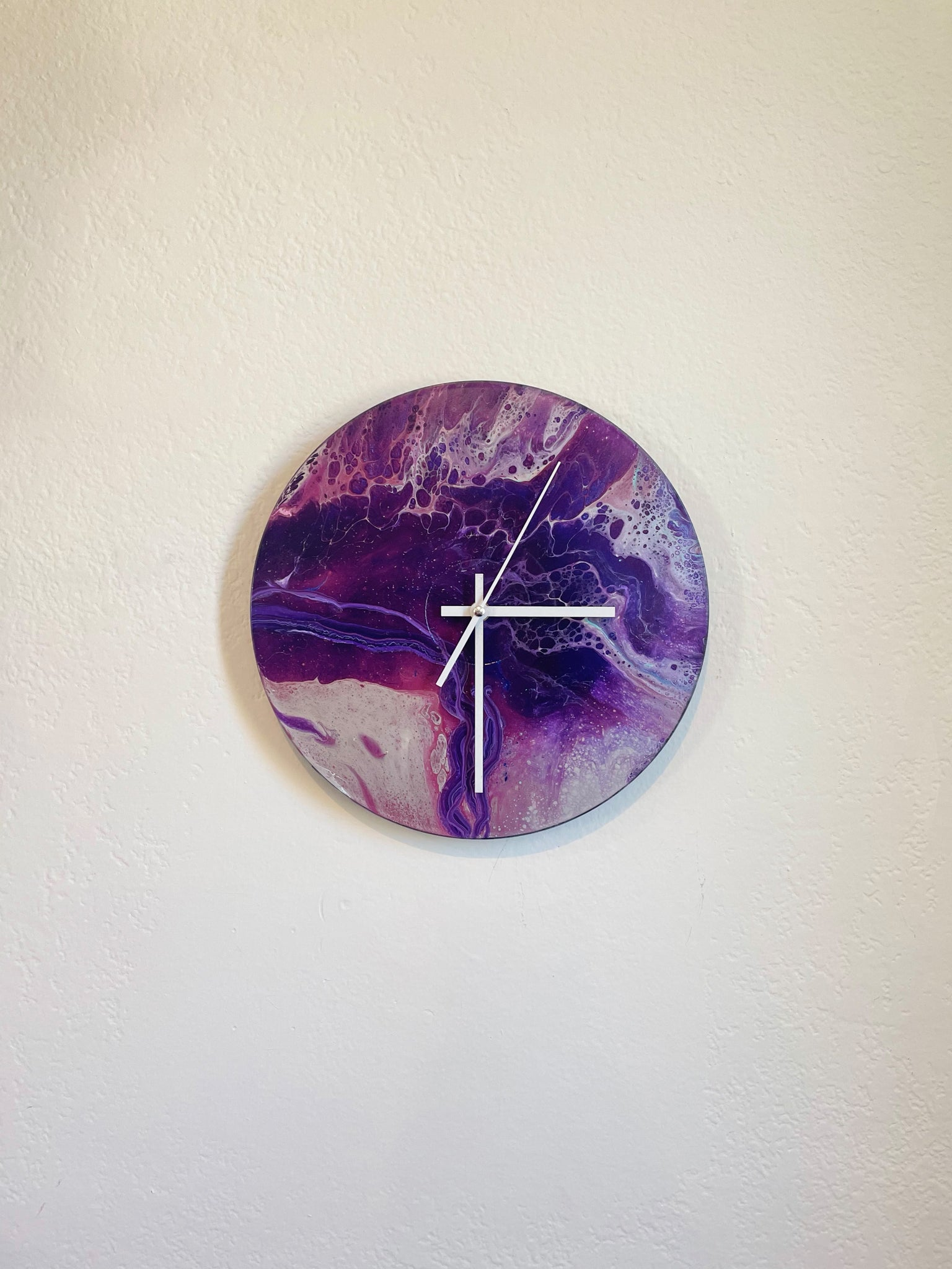 Purple Mountain - Upcycled Vinyl Record Pour Painting Clock - Ashley Lisl Art