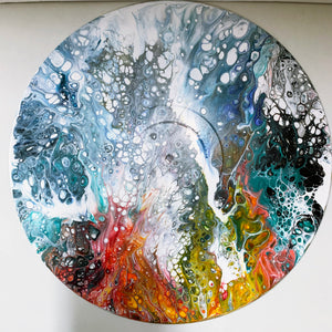 "Vinyl Art Painting ""Rainbow Sea"" - Ashley Lisl Art"