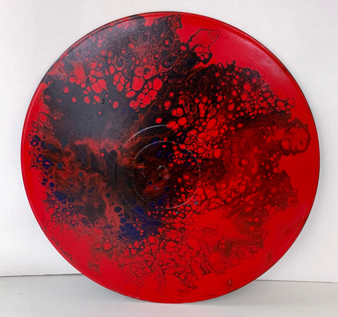 "Vinyl Art Painting ""Red Spray"" - Ashley Lisl Art"