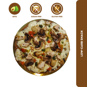 Fitness & Flavors | Low-carb Pizza - Roasted Garlic Chicken & Mushroom