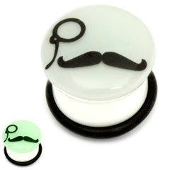 view all Acrylic Monocle Moustache Plug Glow in the Dark body jewellery