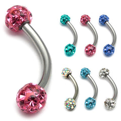 view all Belly Bar - Smooth Glitzy Ball (5mm balls) body jewellery