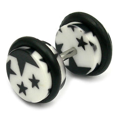 view all Acrylic Fake Plugs - Big Black Stars on White body jewellery