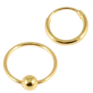Gold Plated Silver Hoops, Earrings