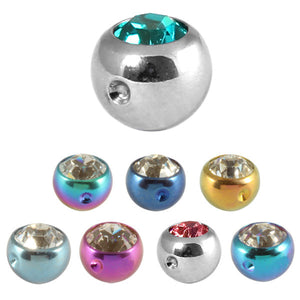 Titanium Clip in Jewelled Ball (for BCR)