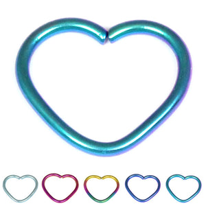 Titanium Coated Steel Continuous Heart Twist Rings