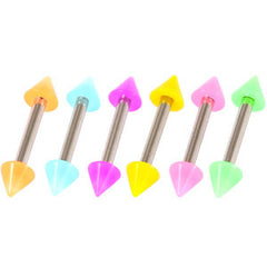 view all Acrylic Neon Cone Micro Barbell 1.2mm body jewellery