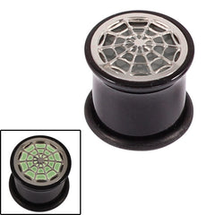 view all Acrylic Glow in the Dark Spiders Web Plug body jewellery
