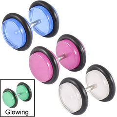 view all Acrylic Glow in the Dark Fake Plugs body jewellery