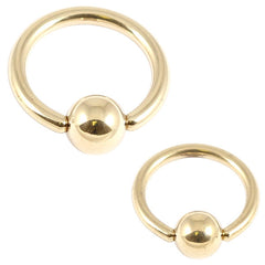 view all Zircon Steel Ball Closure Ring (BCR) (Gold colour PVD) body jewellery