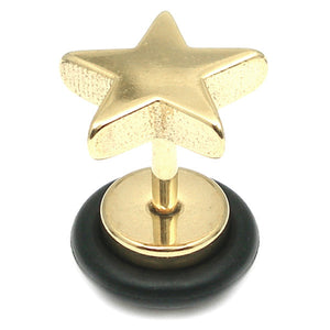 Zircon Steel Star Fake Plug (Gold colour PVD)