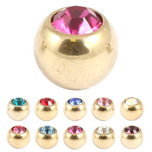 Zircon Steel Jewelled Balls 1.6mm (Gold colour PVD)