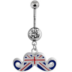 view all Belly Bar - Union Jack Moustache body jewellery