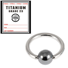 view all Sterile Titanium BCR with Hematite Bead body jewellery