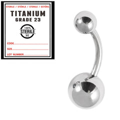 view all Sterile Titanium Belly Bar 1.6mm with 8-5 balls body jewellery