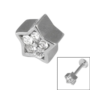 Steel Threaded Attachment - 1.2mm and 1.6mm Cast Steel Jewelled Star