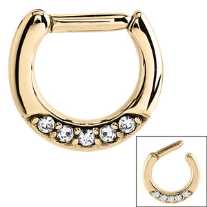 Zircon Steel Septum Clicker Ring Jewelled 5 Gem (Gold colour PVD)