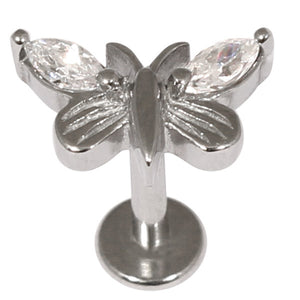 Steel Labret with Jewelled Butterfly 1.2mm and 1.6mm