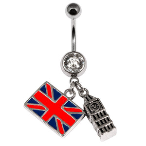 Belly Bar - Big Ben Union Jack Flag Dangly