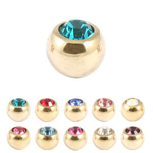 Zircon Steel Jewelled Balls 1.2mm (Gold colour PVD)