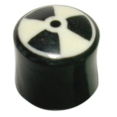 view all Organic Horn Plug with Radioactive design body jewellery