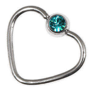 Steel Jewelled Continuous Heart Twist Rings