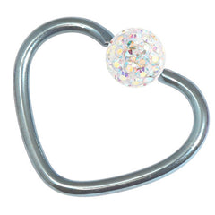 view all Titanium Coated Steel Glitzy Continuous Heart Twist Rings body jewellery