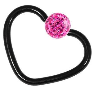 Black Steel Glitzy Continuous Heart Twist Rings