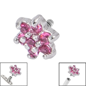 Steel Claw Set Jewelled Flower for Internal Thread shafts in 1.6mm (1.2mm). Also fits Dermal Anchor