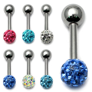 Smooth Glitzy Ball Barbell Single Ended with 5mm balls